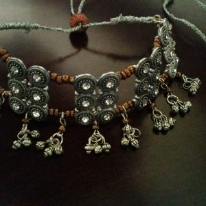 Oxidized Silver Choker Necklace and Earring Set