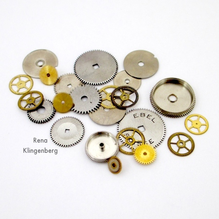 Steampunk cogs, gears and components for Elegant Steampunk Earrings - Tutorial by Rena Klingenberg