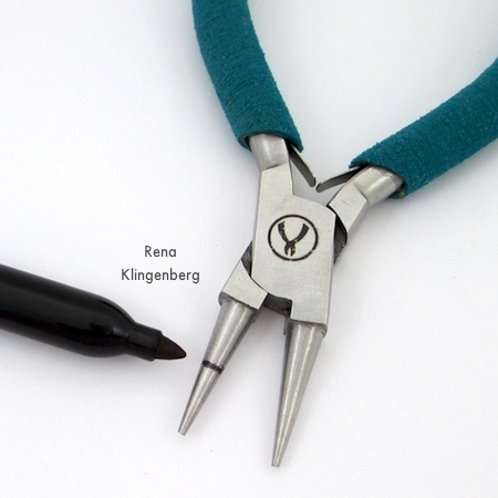 Marking pliers for Elegant Steampunk Earrings - Tutorial by Rena Klingenberg