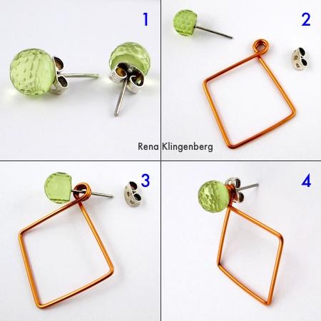 How to Wear Earring Jackets - Square Hoop Earring Jackets - Tutorial by Rena Klingenberg