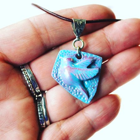 Little Bird pendant by Janine Gerade - featured on Jewelry Making Journal