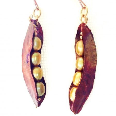 Copper Pea Pod with Fresh Water Pearls Earrings by Pamela Dudrow  - featured on Jewelry Making Journal