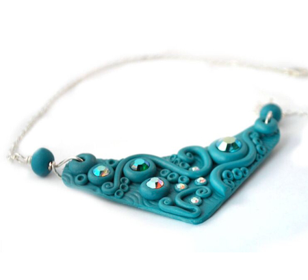 Blue Clay Necklace by Janine Gerade -  - featured on Jewelry Making Journal
