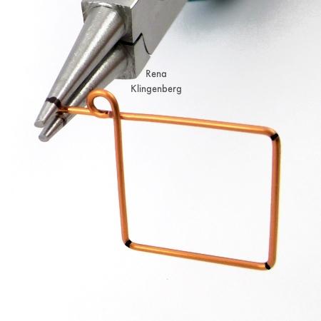 Making wire loops for Square Hoop Earring Jackets - Tutorial by Rena Klingenberg