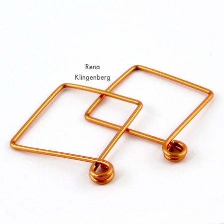 Square Hoop Earring Jackets - Tutorial by Rena Klingenberg