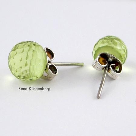 Post earrings for Square Hoop Earring Jackets - Tutorial by Rena Klingenberg