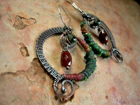 Copper Wire & Silk Wrapped Earrings with Carnelian & Zoisite, by Cherie L Somerville  - featured on Jewelry Making Journal