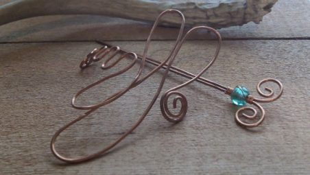 Copper Dragonfly Stick Barrette by Veronica Rausch  - featured on Jewelry Making Journal