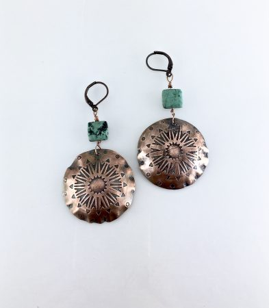 Etched Copper Mandala Earrings with African Turquoise by Sandra  - featured on Jewelry Making Journal
