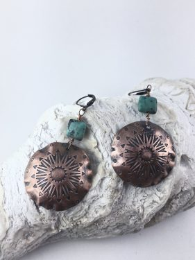Etched Copper Mandala Earrings with African Turquoise