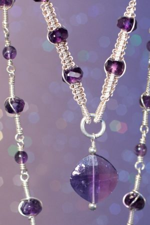 Silver wire macrame with Amethyst by Donna Jadis  - featured on Jewelry Making Journal