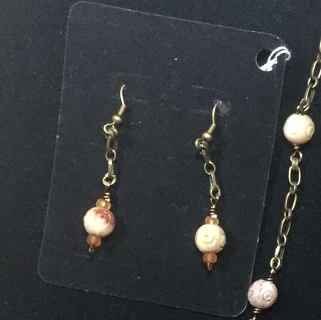 Wooden and stone earrings by Colleen  - featured on Jewelry Making Journal