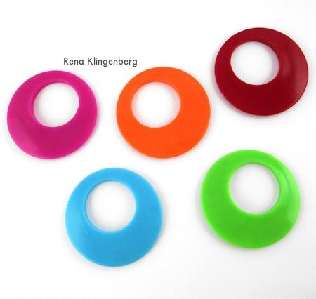 Large 1970's vintage plastic gogo hoop pendants - Fun with Layering Pendants - Tutorial by Rena Klingenberg