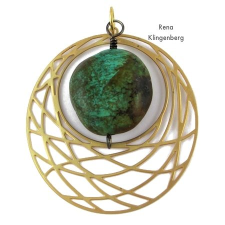 Brass and turquoise nugget for Fun with Layering Pendants - Tutorial by Rena Klingenberg