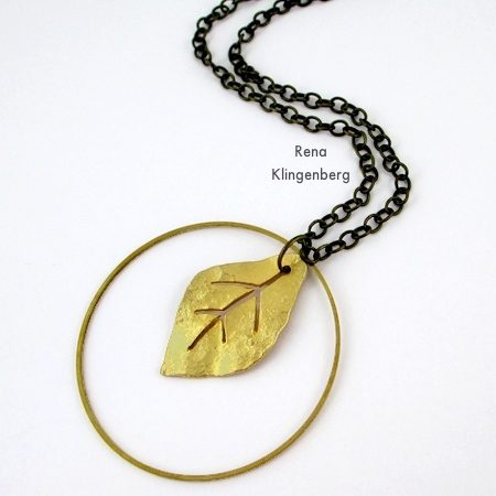 Layered brass leaf and hoop pendants for Fun with Layering Pendants - Tutorial by Rena Klingenberg