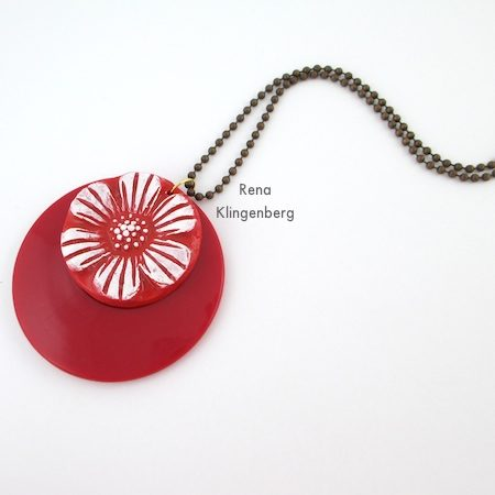 Red layered pendants for Fun with Layering Pendants - Tutorial by Rena Klingenberg