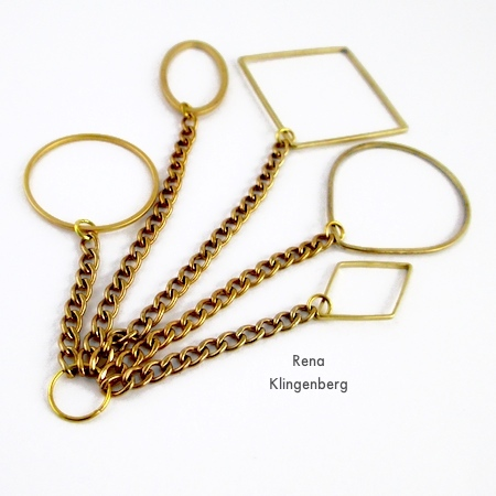 Connecting chains with geometric links - for Geometric Waterfall Neckwire, Two Ways - Tutorial by Rena Klingenberg