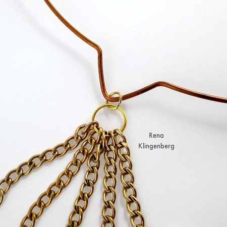 Attaching chains and geometric links to neckwire for Geometric Waterfall Neckwire, Two Ways - Tutorial by Rena Klingenberg