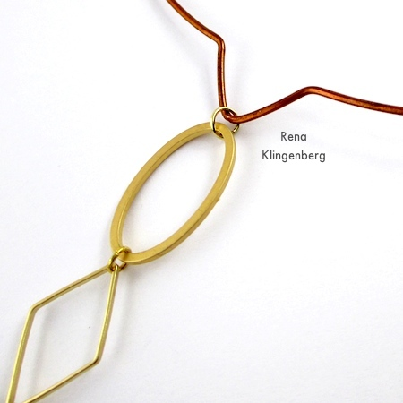 Attaching geometric links to neckwire for Geometric Waterfall Neckwire, Two Ways - Tutorial by Rena Klingenberg