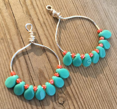 Turquoise Gypsy Hoop Earrings by Sarah Reid  - featured on Jewelry Making Journal