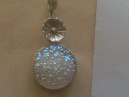 Metal and glass pendant by Kim Pernia  - featured on Jewelry Making Journal