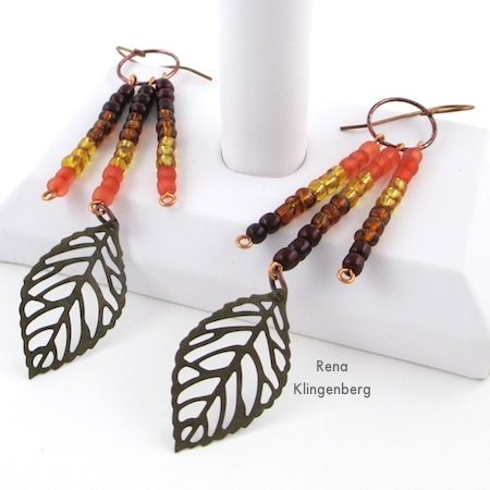 Ombre Autumn Earrings - Tutorial by Rena Klingenberg