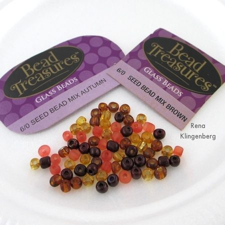 Seed bead mixes for Ombre Autumn Earrings - Tutorial by Rena Klingenberg