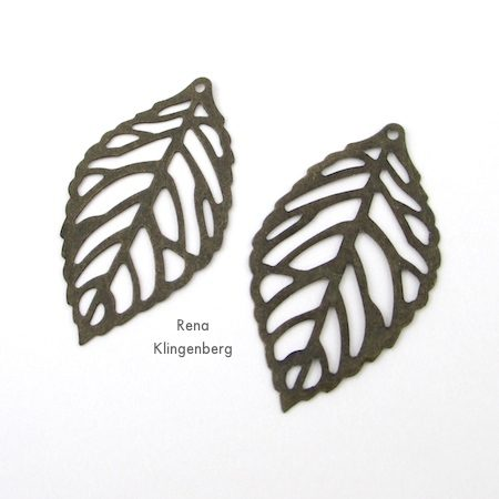 Antiqued brass leaf charms for Ombre Autumn Earrings - Tutorial by Rena Klingenberg