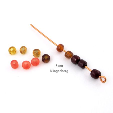 Stringing seed beads onto wire for Ombre Autumn Earrings - Tutorial by Rena Klingenberg