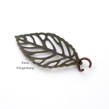 Attaching leaf charm to Ombre Autumn Earrings - Tutorial by Rena Klingenberg