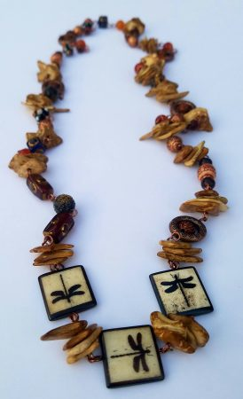 Rustic Dragonfly Necklace by Kelly Mesidor  - featured on Jewelry Making Journal