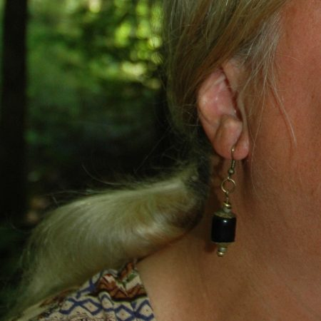 Earrings with a stylized lantern design, by Terrie Marcoe  - featured on Jewelry Making Journal