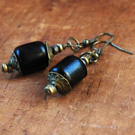 Eastern Barrel Earrings - Sumptuous Vintage Components - by Terrie Marcoe  - featured on Jewelry Making Journal