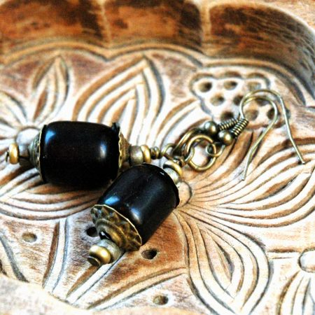 Earrings with delightful individually hand-cut brass bead caps, by Terrie Marcoe  - featured on Jewelry Making Journal