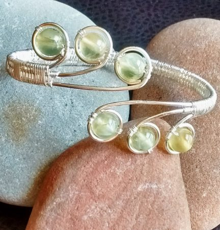 Prehnite cuff by Kristene Gonzales  - featured on Jewelry Making Journal