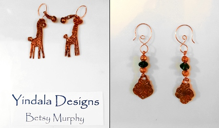 Two sets of earrings – giraffes, and ones with the Victorian feel are copper by Betsy Murphy  - featured on Jewelry Making Journal