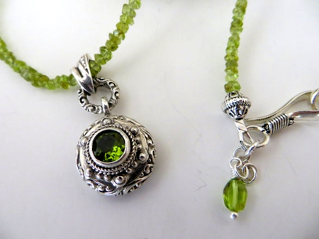 Peridot Gemstone Necklace With Bali Silver & Peridot Pendant