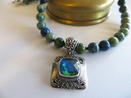 Chrysocolla Necklace With Mystic Topaz and Sterling Pendant by Holly Louen  - featured on Jewelry Making Journal