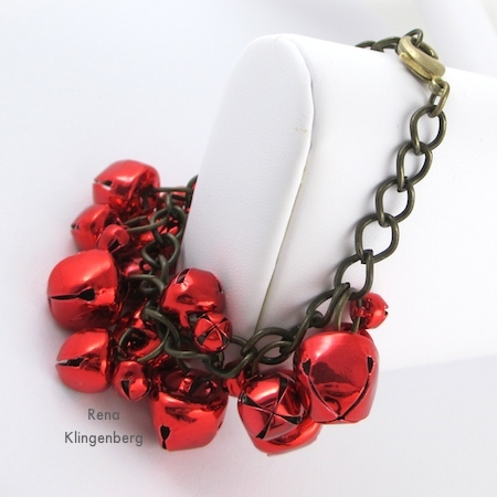 Jingle bell cha-cha bracelet, from Jingle Bell Jewelry Set - Tutorial by Rena Klingenberg