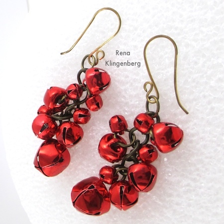 Jingle Bell cha-cha earrings, from Jingle Bell Jewelry Set - Tutorial by Rena Klingenberg