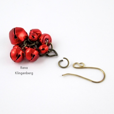 Making earrings for Jingle Bell Jewelry Set - Tutorial by Rena Klingenberg