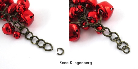 Attaching clasp ends to Jingle Bell Jewelry Set - Tutorial by Rena Klingenberg