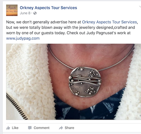 The tour company's Facebook post about my jewelry - by Judy Pagnusat - Jewelry Making Journal