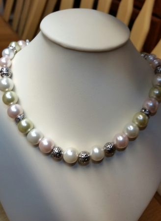 Faux mixed pearls with silver beads by Catherine Smith  - featured on Jewelry Making Journal