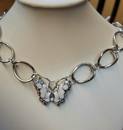 Chain link necklace with butterfly by Catherine Smith  - featured on Jewelry Making Journal
