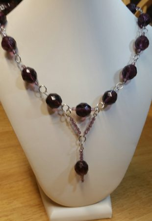 Fire polish and amethyst necklace by Catherine Smith  - featured on Jewelry Making Journal