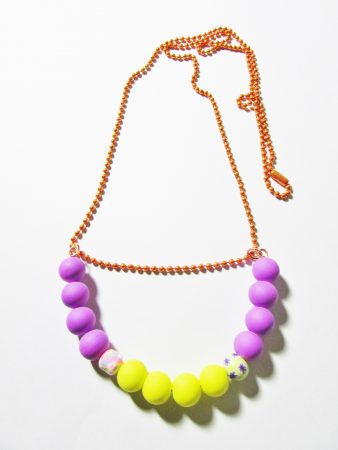 Silicone beads on rust colored beaded chain by Joybelle Malcolm  - featured on Jewelry Making Journal