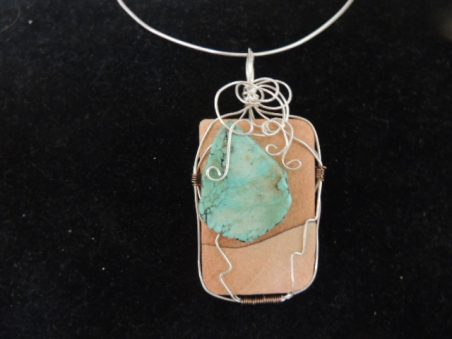 Sandstone, turquoise, and wire pendant by Linda  - featured on Jewelry Making Journal