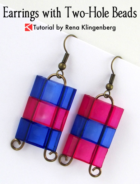 Earrings with Two-Hole Beads - Tutorial by Rena Klingenberg