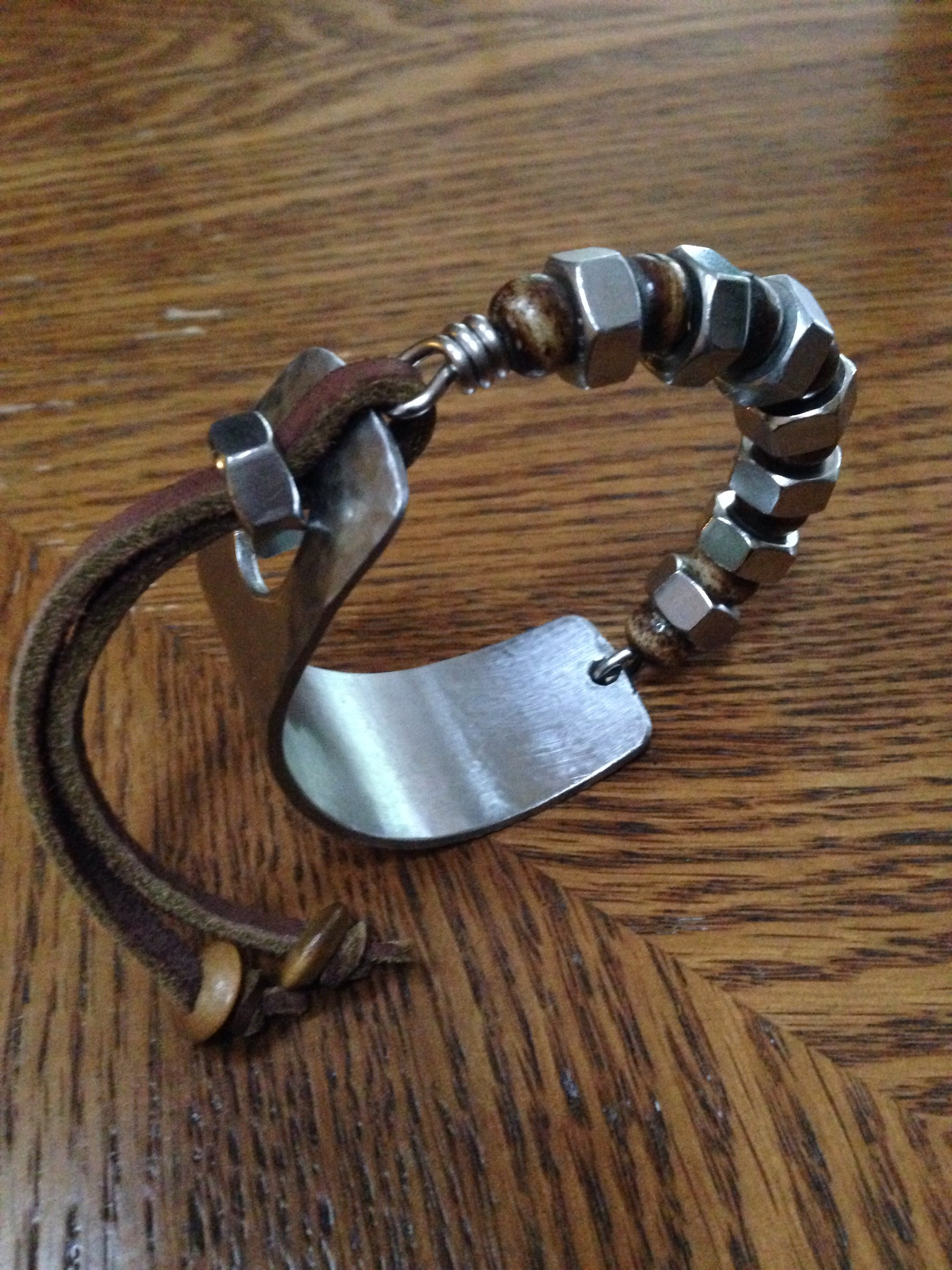 Stainless Steel, Bone and Leather Bracelet